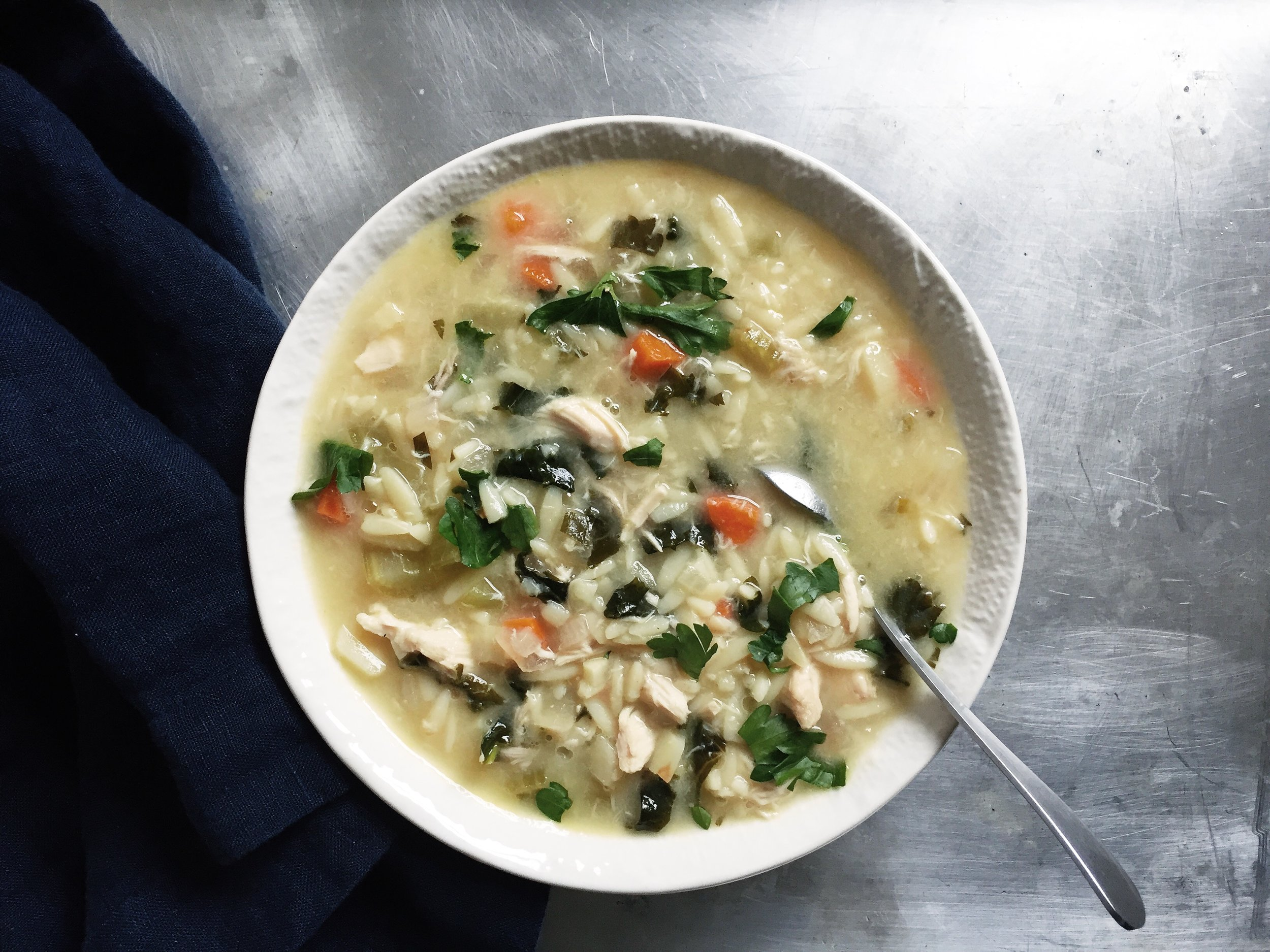 Running With Forks Lemon Chicken Orzo Soup