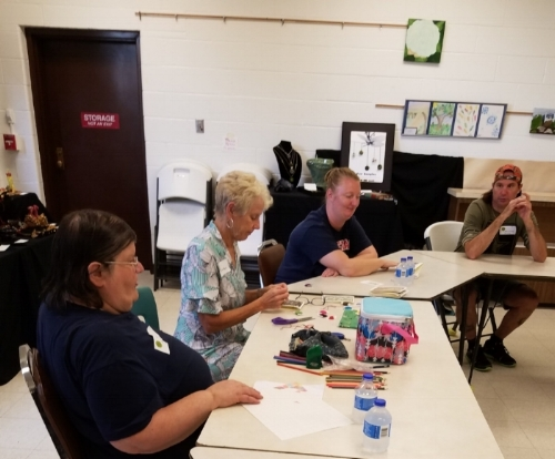 AOS artist Debbie Deitrich demonstrated as local visiting artist and volunteer Barb Schnellinger stitched handmade books. Great conversations with friends and AOS artists Shea Collins and Albert Greenlief.