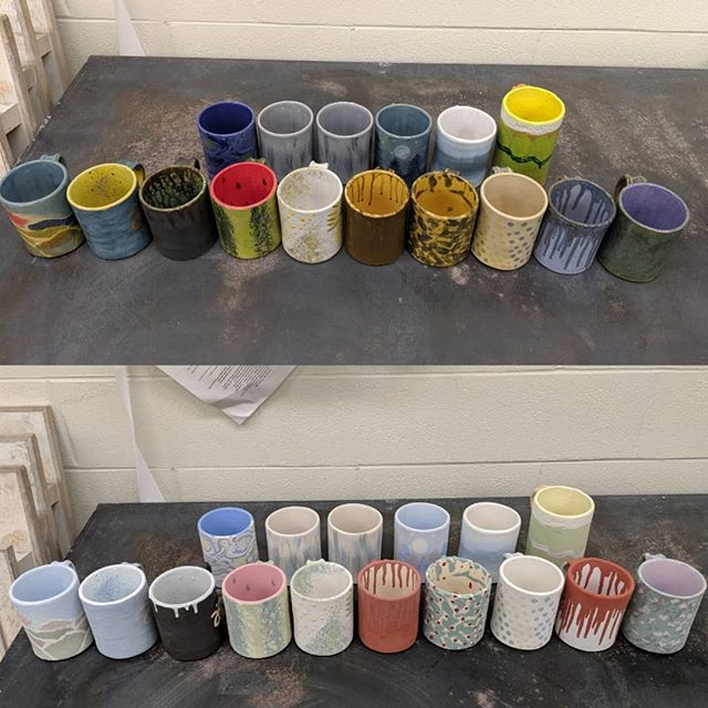 As promised, here are some Fun Mug beauties that came out of the kiln. Each one an amazing masterpiece! Which one would you take home if you could?? #beforeandafter #artistsopenstudioinc #artstudio #createforacause #fundraiser #glaze #glazing #glazefire #artworkshop #coffeemugs #mugs #clay #ceramics #stoneware #community #inclusion #artforall #supportnonprofits
