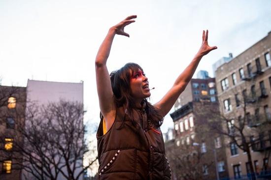 Emily Johnson speaking to spectators gathered at P.S. 11 beforetheperformance of her  SH  ORE at New York Live Arts. Photo: Ian Douglas