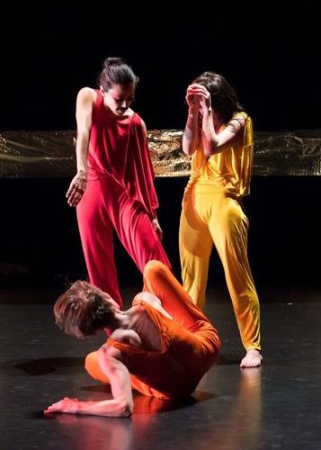 Aretha Aoki (in red), Emily Johnson (in yellow), and KristaLangberg (in orange) in Johnson's  Shore  . Photo: Ian Douglas