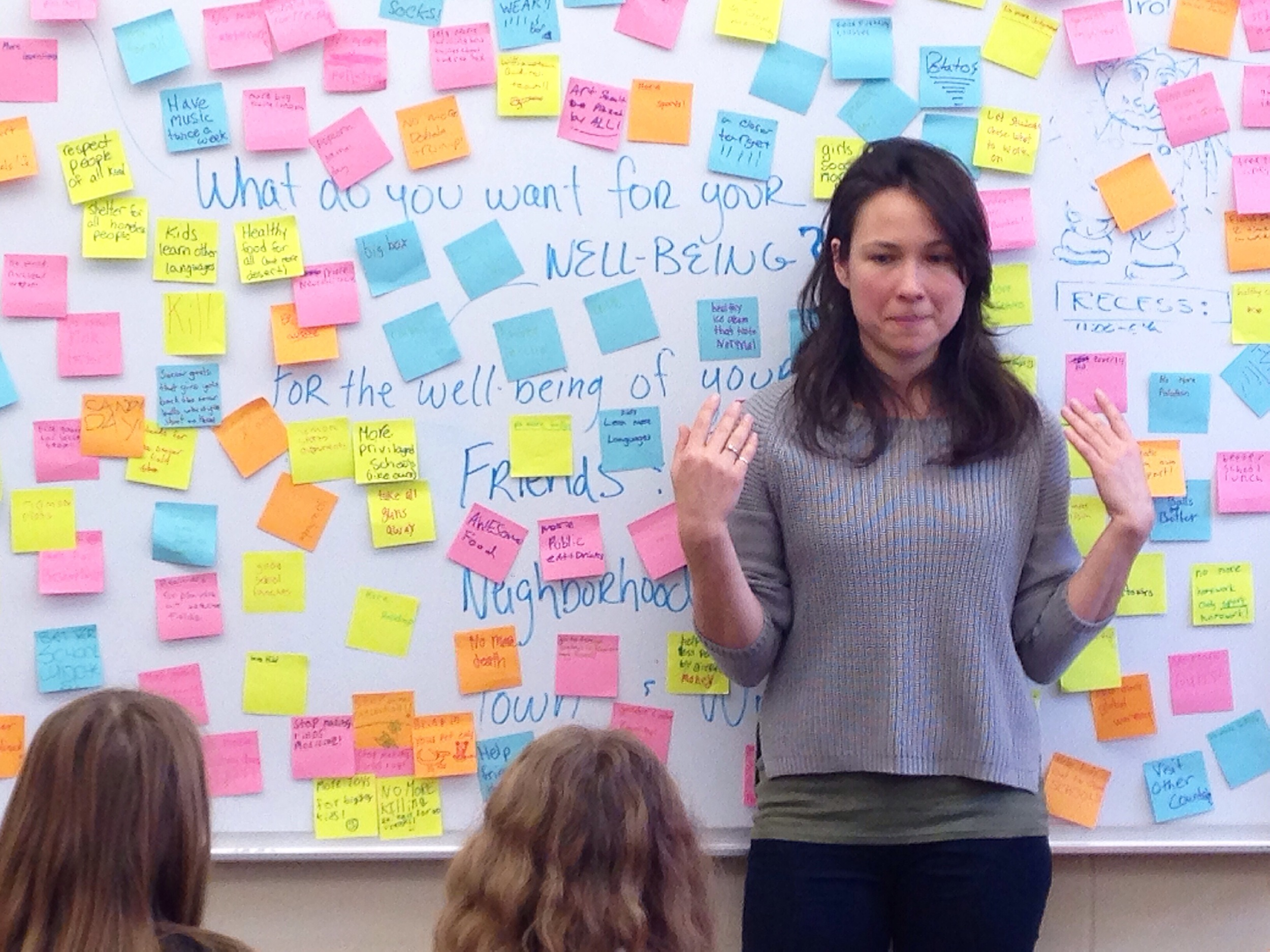 Emily Johnson facilitating a Community Visioning Session at Williamstown Elementary School. Photo by Maggie Thompson