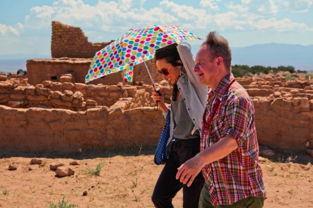 Mr. Sellars with Emily Johnson, the production's choreographer, at the Puye Cliff Dwellings.   Christopher Thompson for The New York Times