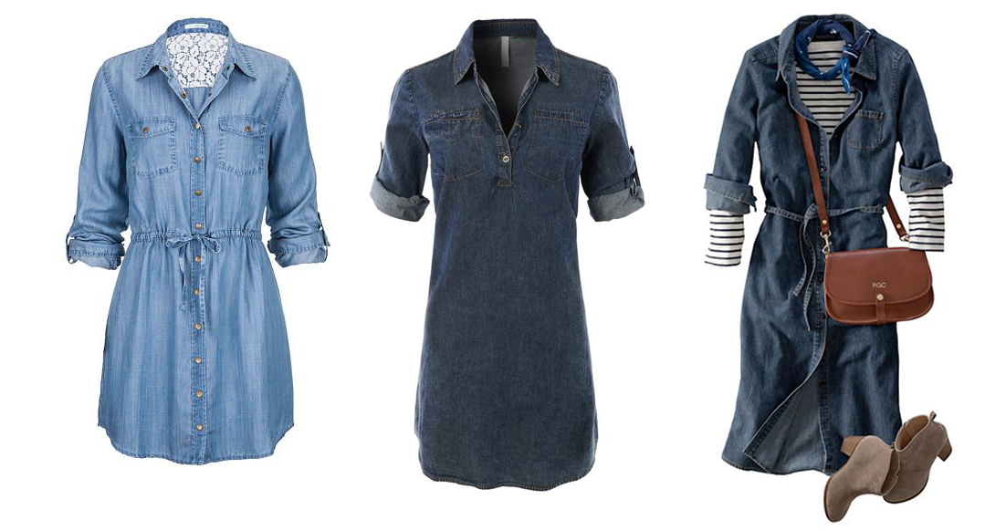 Embroidered Back Chambray Shirtdress,  Maurices . Women's Classic Denim Shirtdress,  Le3no. Women's Shirtdress,  Land's End .