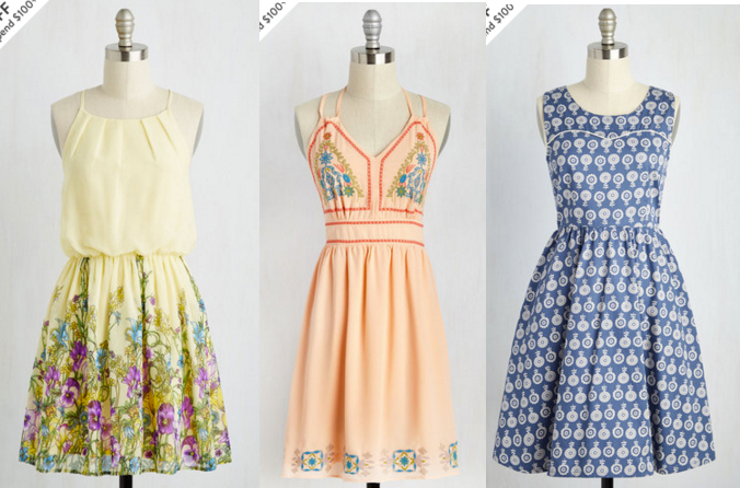 Meadows on My Mind Dress,  Modcloth . Folksy Focus Dress,  Modcloth . Folksy the Sights Dress,  Modcloth .