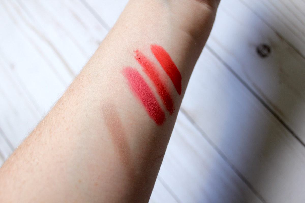 From left to right: NYX Cosmetics Powder Puff in Puppy Love, Wet'n'Wild Cushion Soft Matte Lip Cream in Melon Like It Is, and Doucce Luscious Lip Stain in Passion Peach
