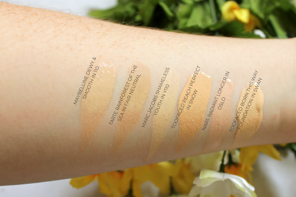 Foundation Swatches with Labels