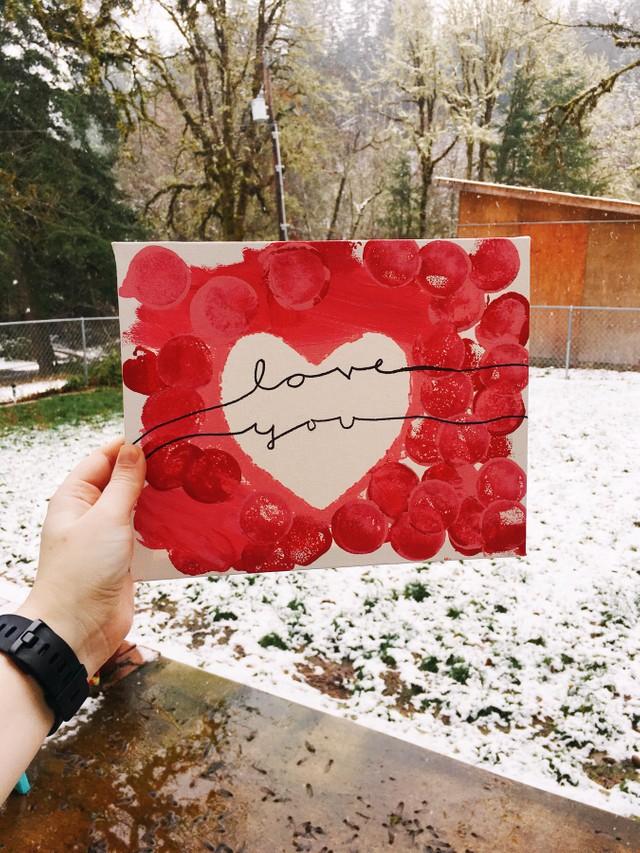 kids valentine's day love canvas