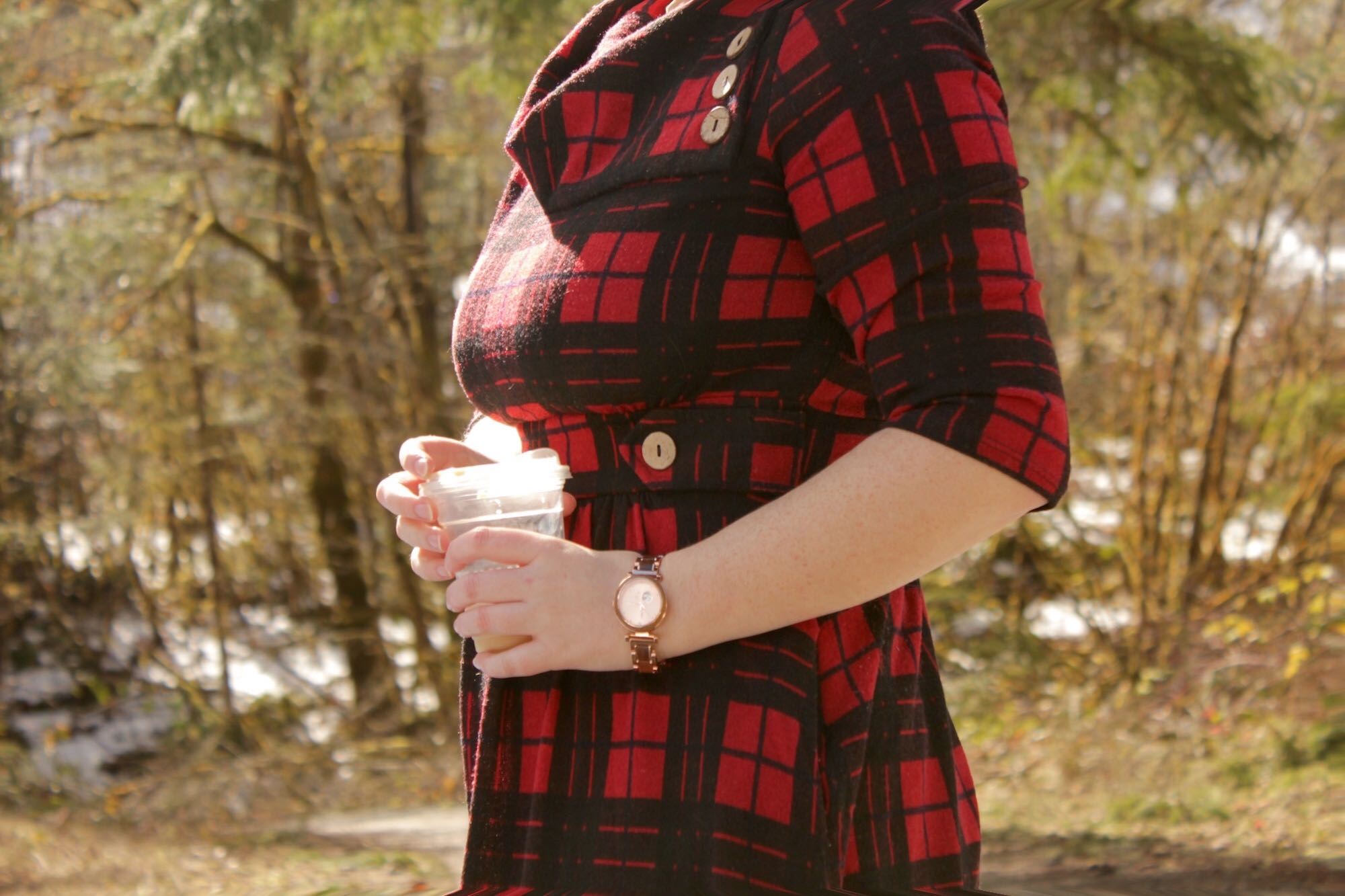 Watch with Red Plaid Dress