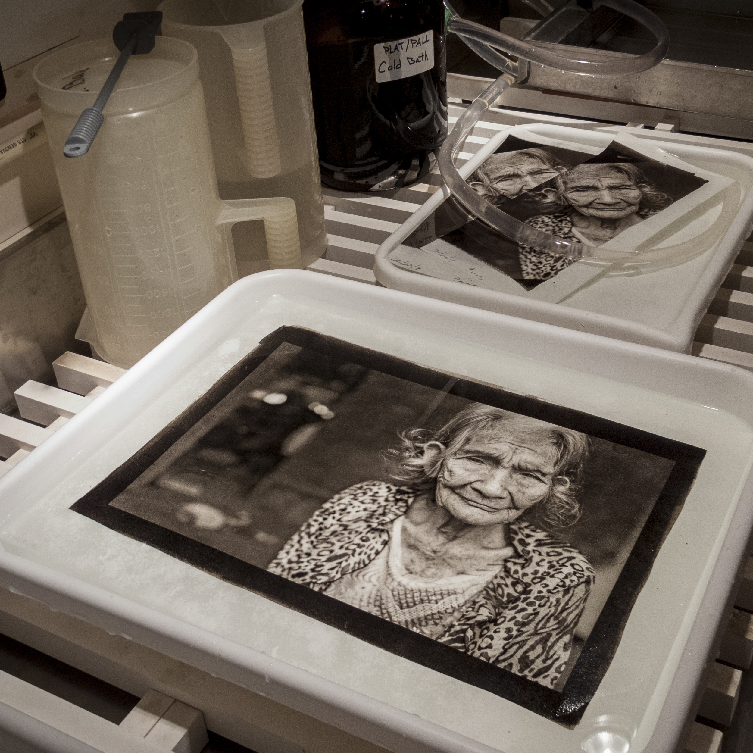 Platinum Print on Japanese Kozo Paper in process