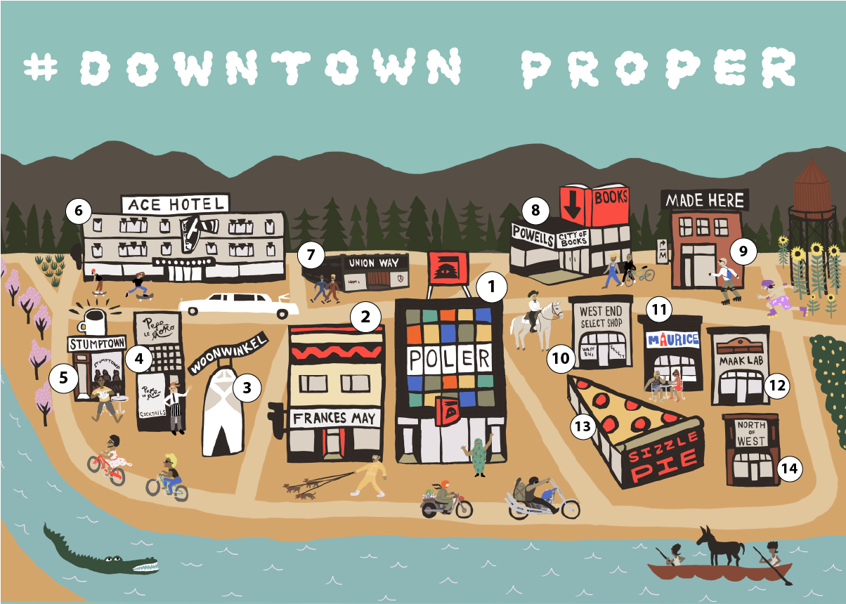Downtown Proper - Illustrated Map