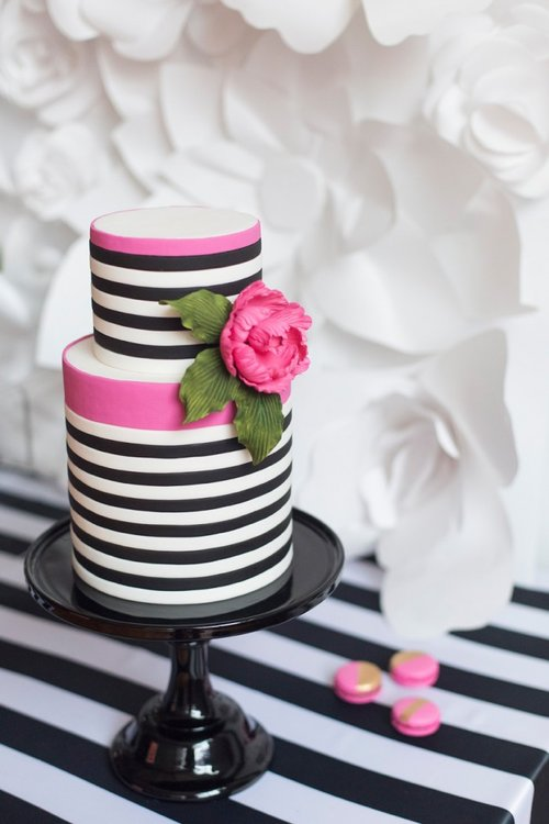 August In Bloom - Striped Two-Tier Party Cake - Black White With A Pop of Pink