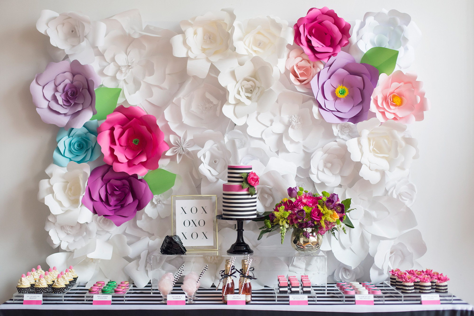 August In Bloom - Sweet table - Kate Spade inspired black, white, with a pop of hot pink party