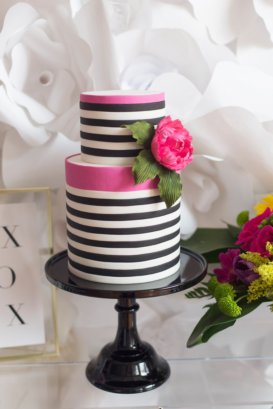 August In Bloom - Striped cake - Kate Spade inspired black, white, with a pop of hot pink party