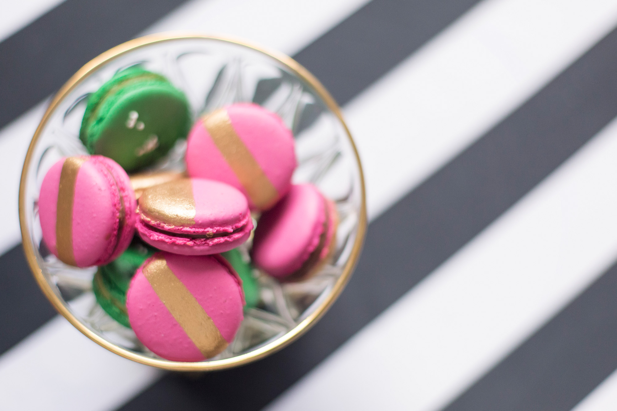 August In Bloom - Macarons - Kate Spade inspired black, white, with a pop of hot pink party