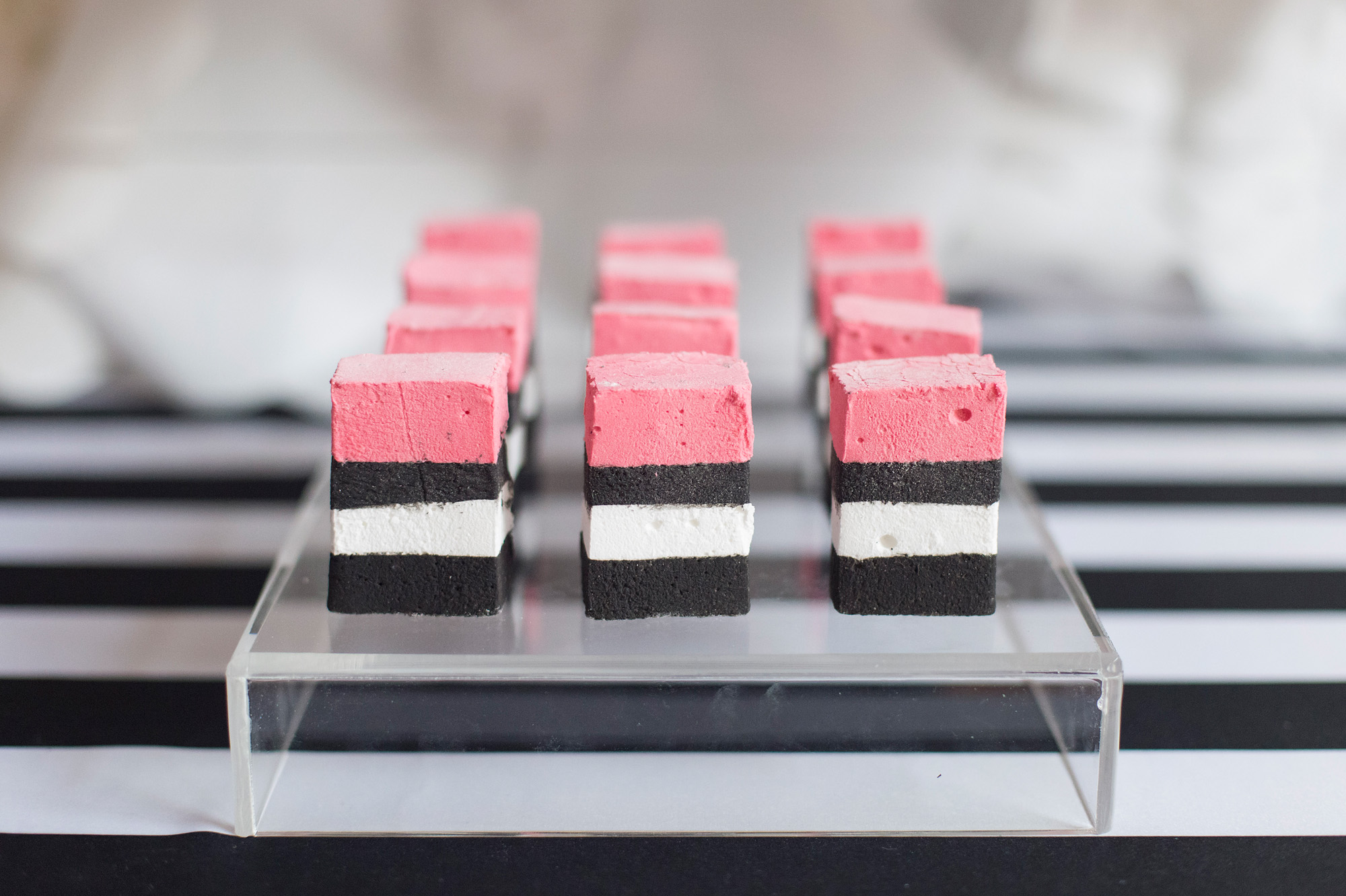 August In Bloom - Marshmallows - Kate Spade inspired black, white, with a pop of hot pink party