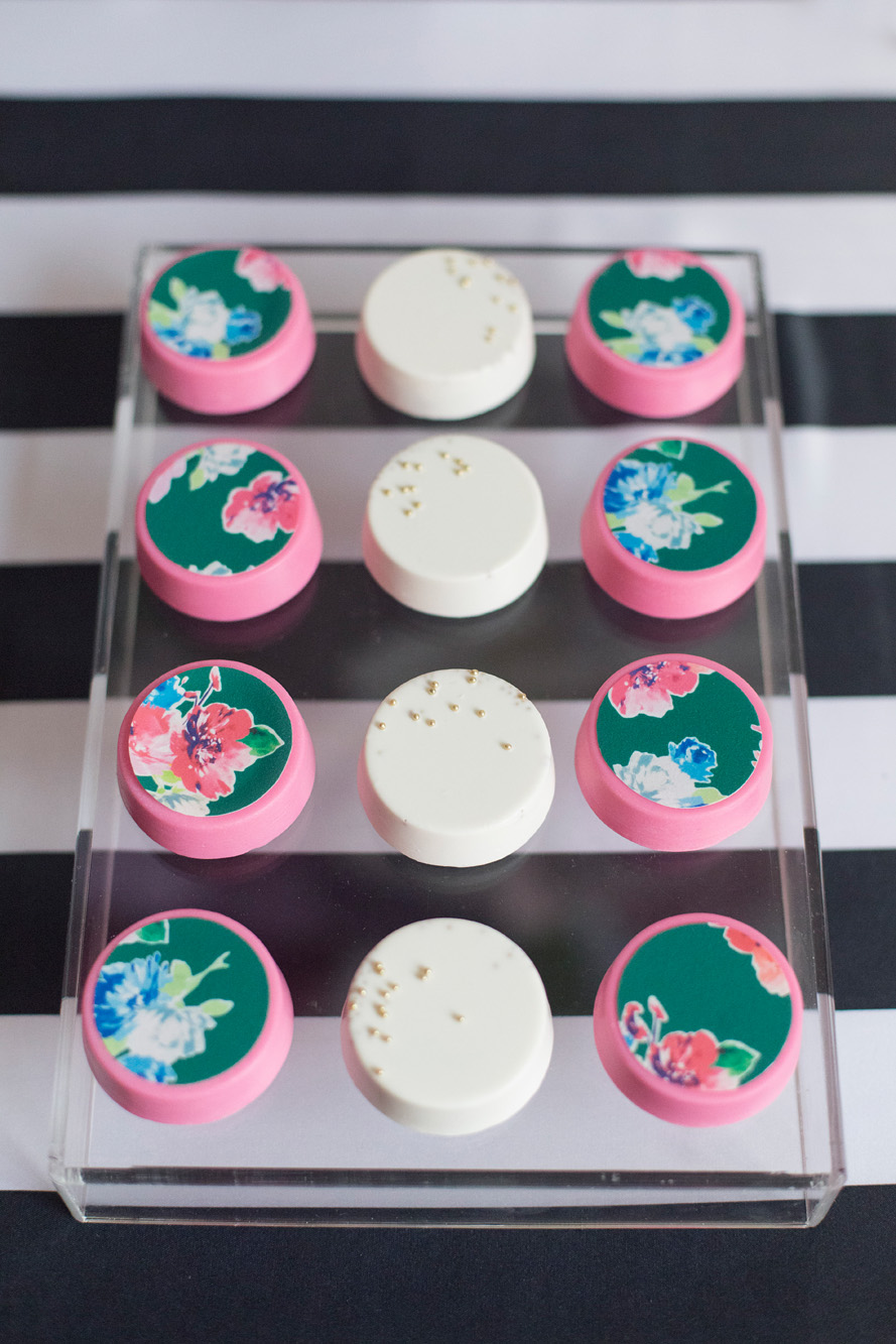 August In Bloom - Colour pop covered oreos - Kate Spade inspired black, white, with a pop of hot pink party