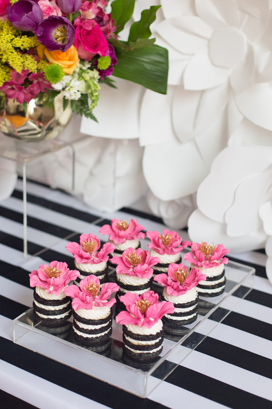August In Bloom - Flower cookie stacks - Kate Spade inspired black, white, with a pop of hot pink party