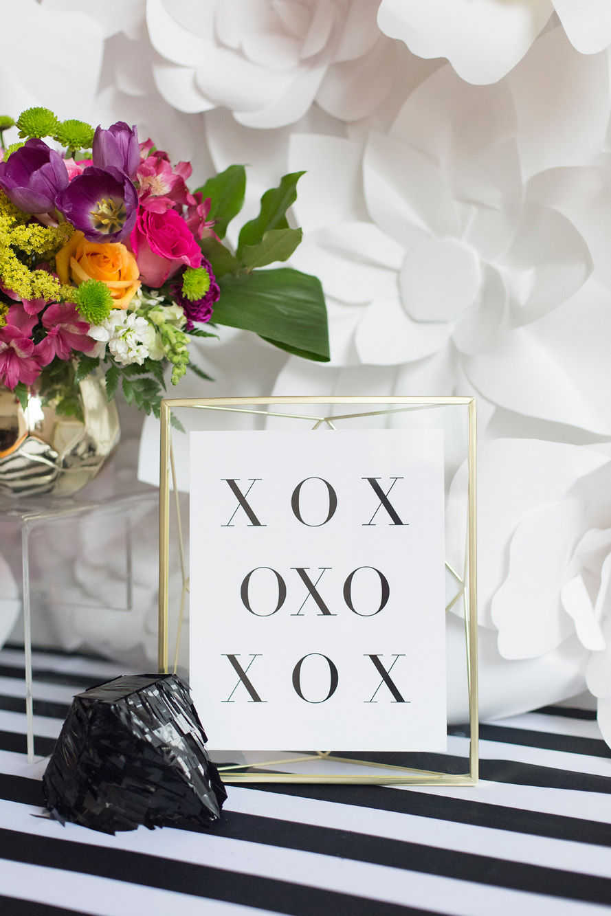 August In Bloom - XOXO signage & piñata - Kate Spade inspired black, white, with a pop of hot pink party