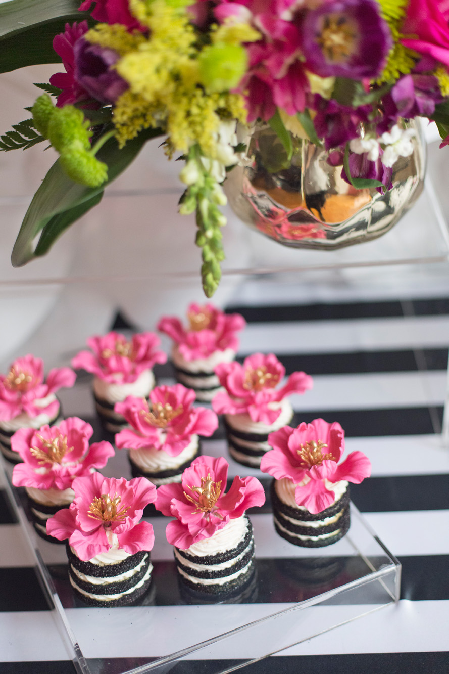 August In Bloom - Flower cookie stacks & florals - Kate Spade inspired black, white, with a pop of hot pink party