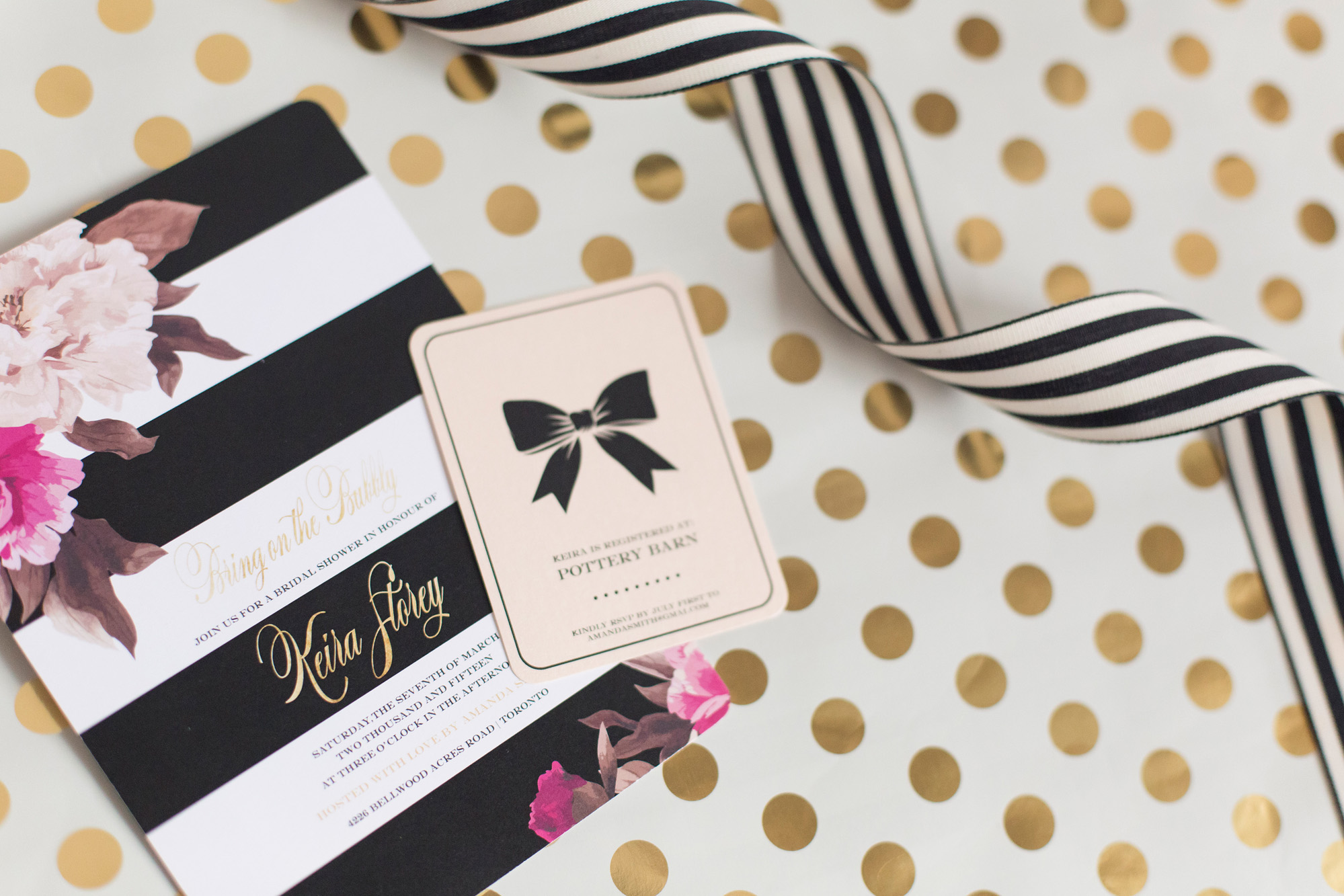 August In Bloom - Invitation - Kate Spade inspired black, white, with a pop of hot pink party