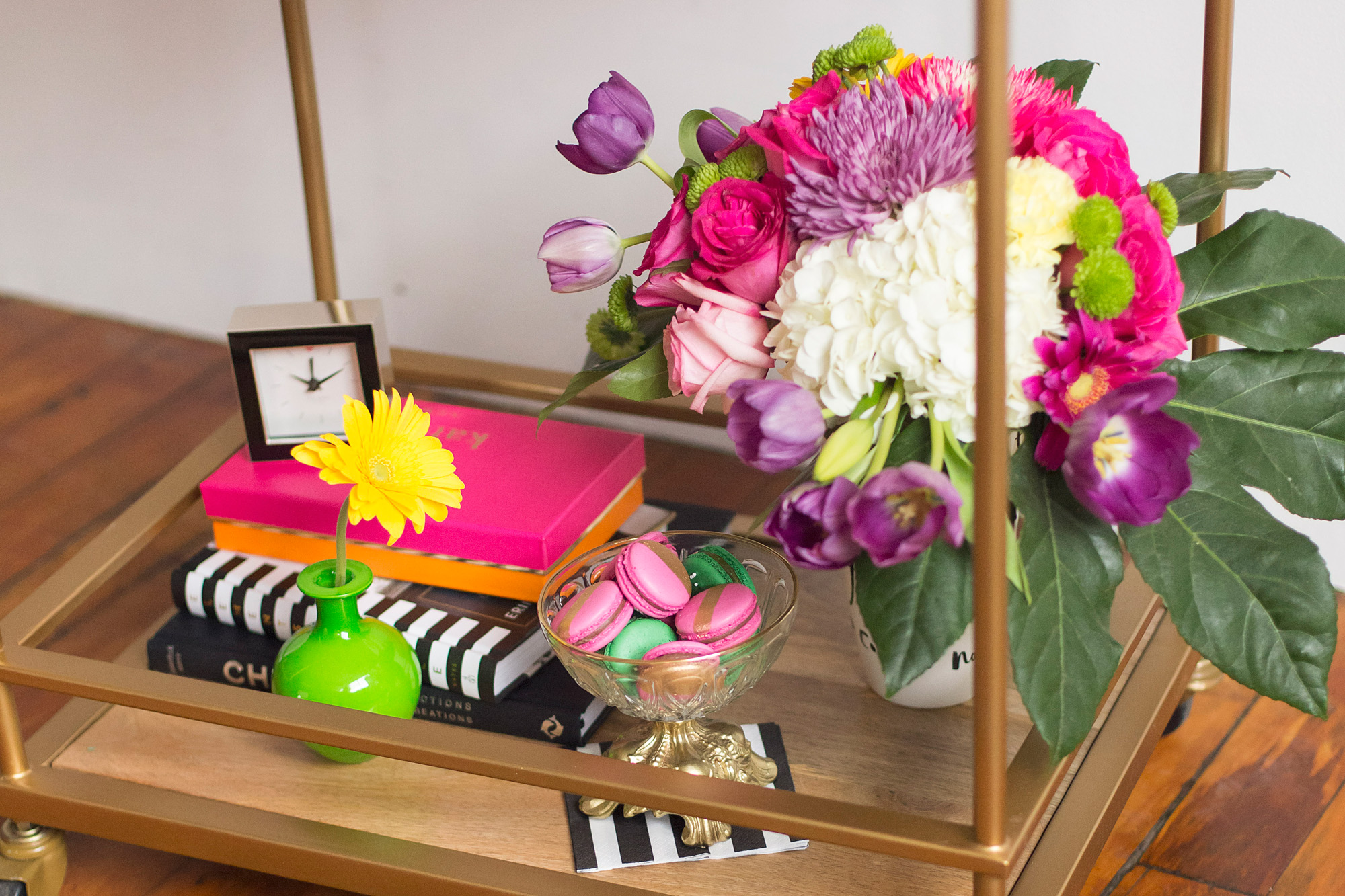 August In Bloom - Fresh florals - Kate Spade inspired black, white, with a pop of hot pink party