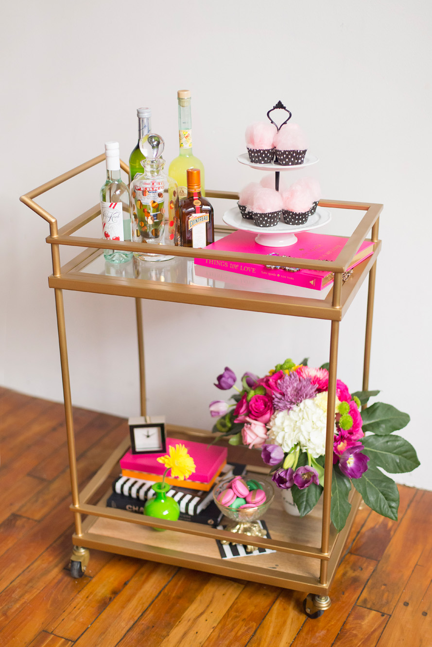 August In Bloom - Drink cart - Kate Spade inspired black, white, with a pop of hot pink party