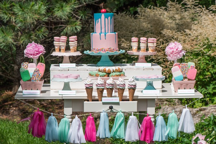 August In Bloom - Sweet table - Ice Cream Birthday Party