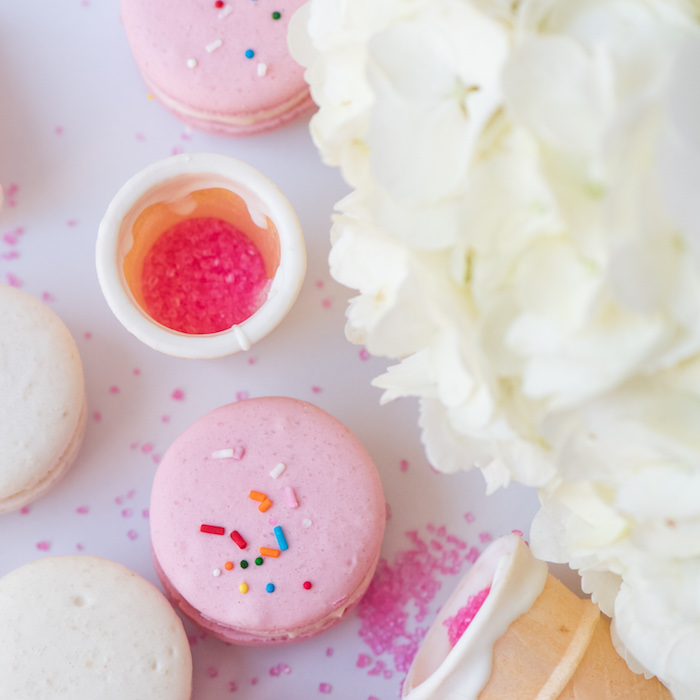 August In Bloom - Macaron ice cream cones - Ice Cream Birthday Party