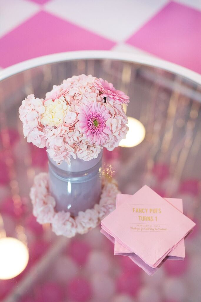 August In Bloom - Pink floral centerpieces - Fancy Pufs celebrates their first birthday