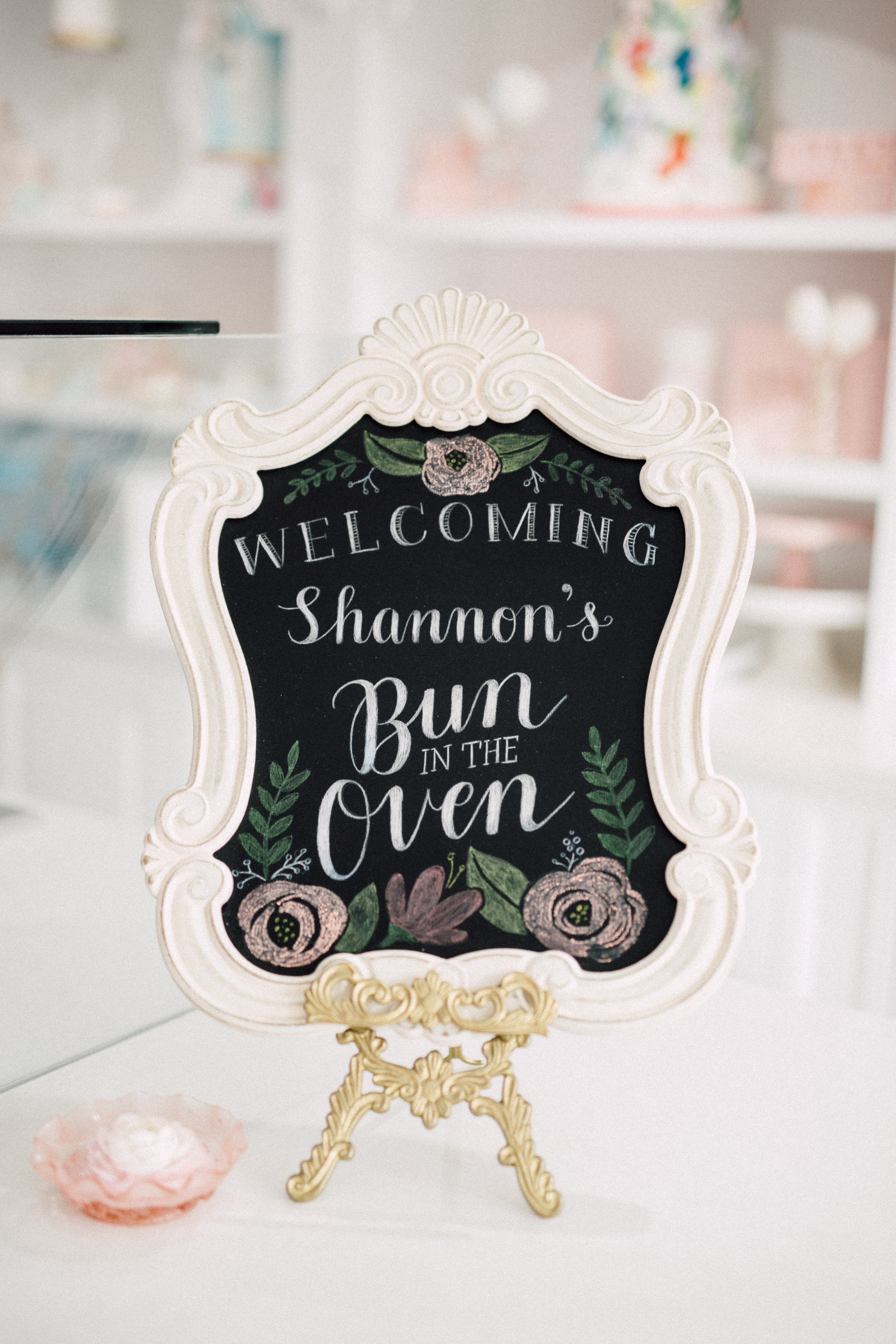 August In Bloom - Handlettered chalkboard welcome sign - Bun In The Oven Baby Shower (Style Me Pretty & SMP Living)
