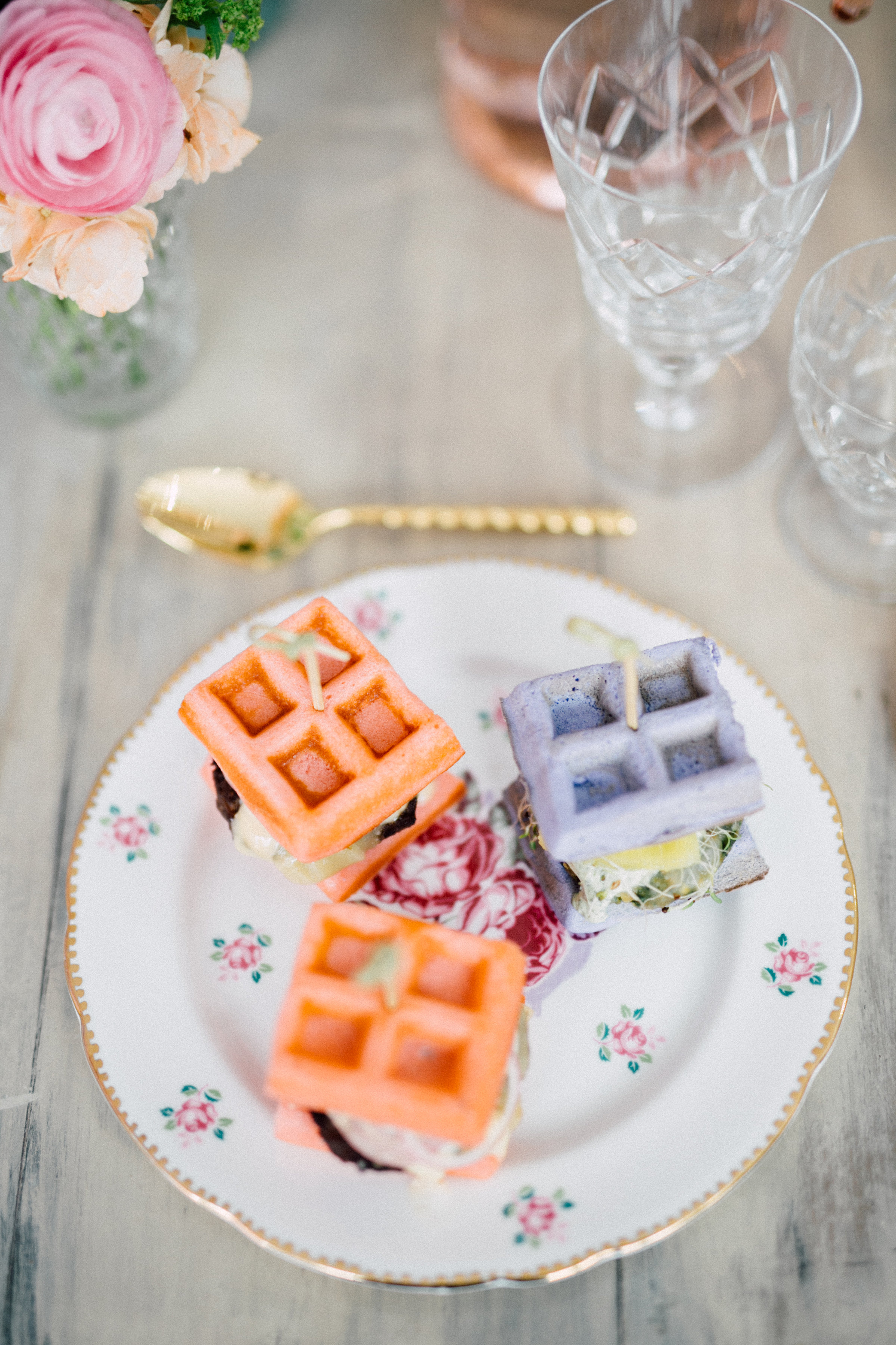 August In Bloom - Mini waffle burger sliders - Bun In The Oven Baby Shower (Style Me Pretty & SMP Living)