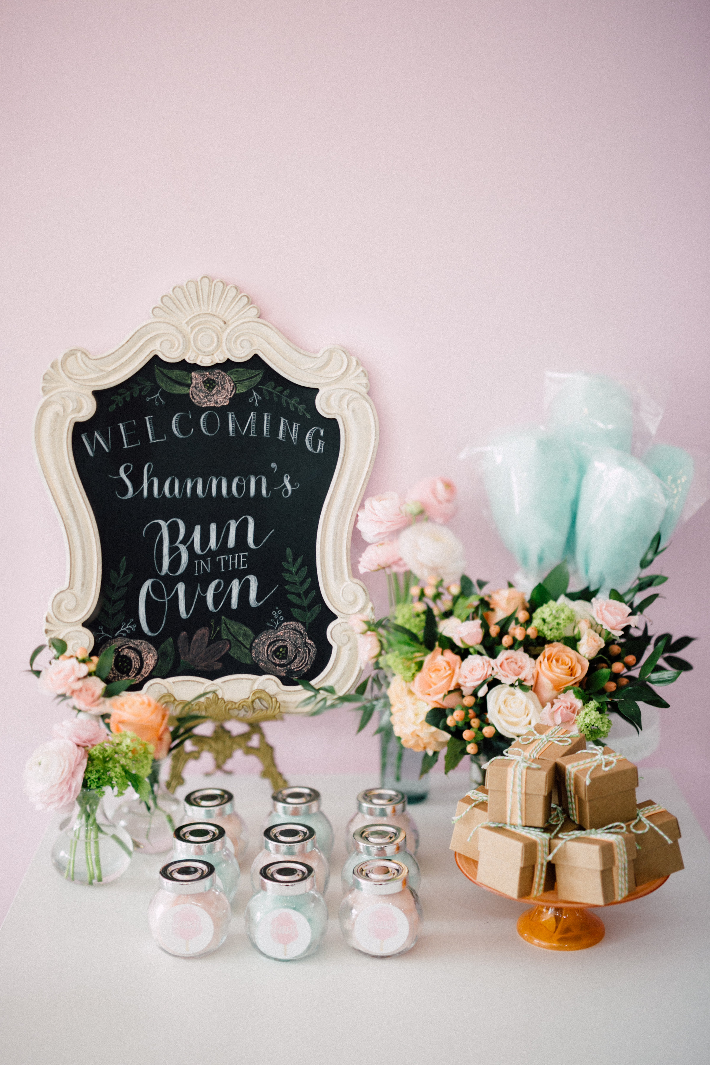 August In Bloom - Welcome table - Bun In The Oven Baby Shower (Style Me Pretty & SMP Living)