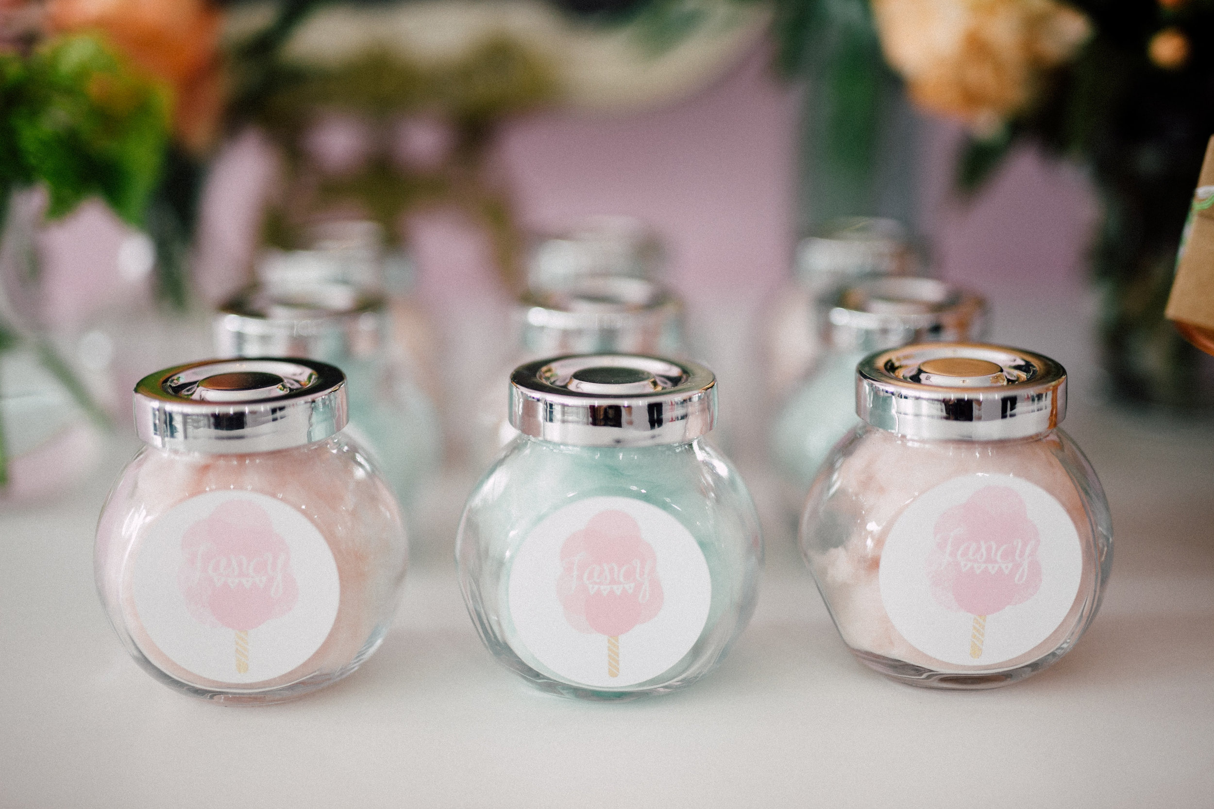 August In Bloom - Candy cotton jars - Bun In The Oven Baby Shower (Style Me Pretty & SMP Living)