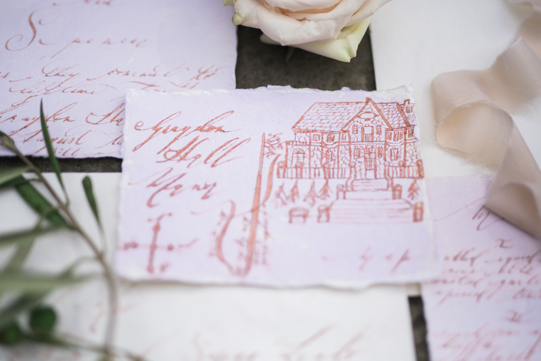 August In Bloom - Lavender watercolour invitations with rose gold calligraphy and vintage stamps - Fairytale Wedding (Wedluxe)