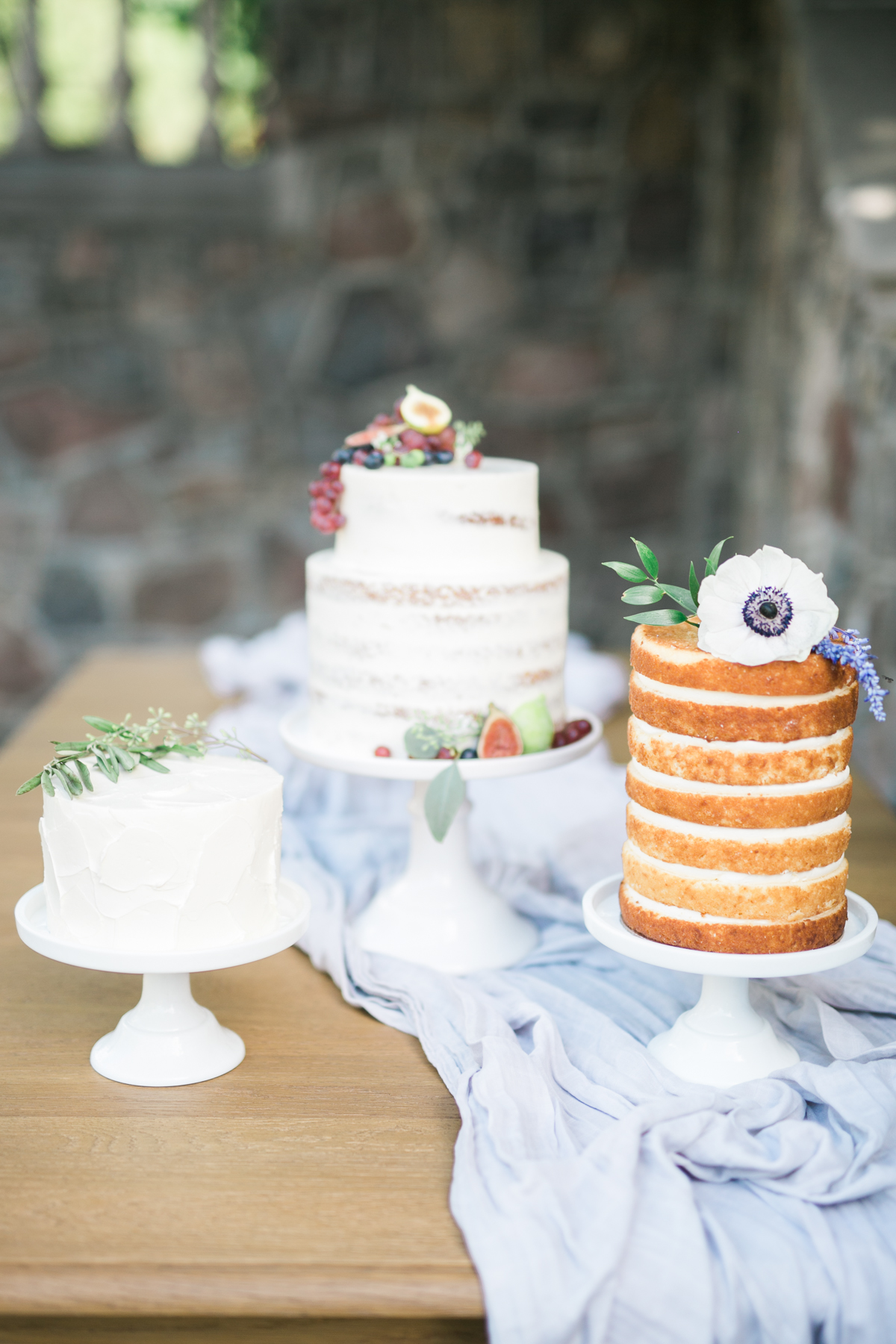 August In Bloom - Half naked cakes with florals and fruits - Fairytale Wedding (Wedluxe)