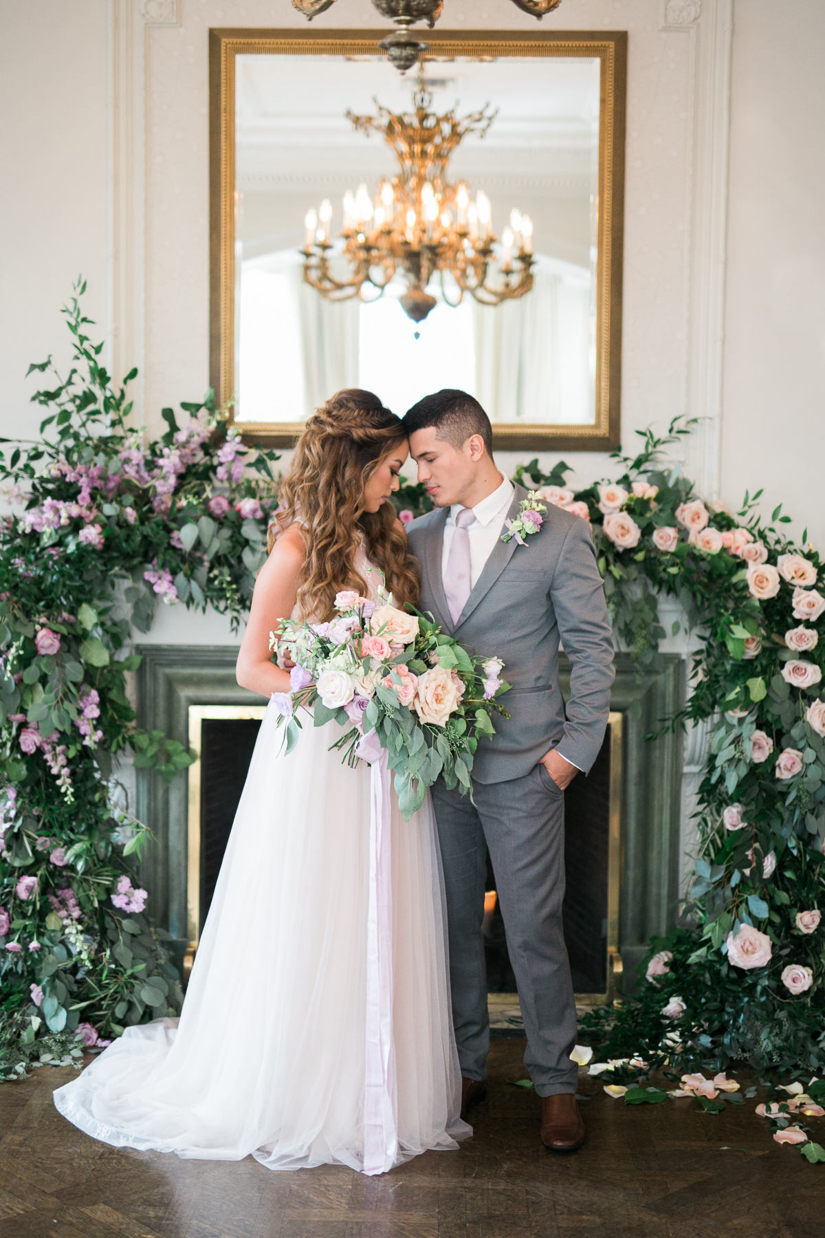 August In Bloom - Ceremony with lush garland - Fairytale Wedding (Wedluxe)