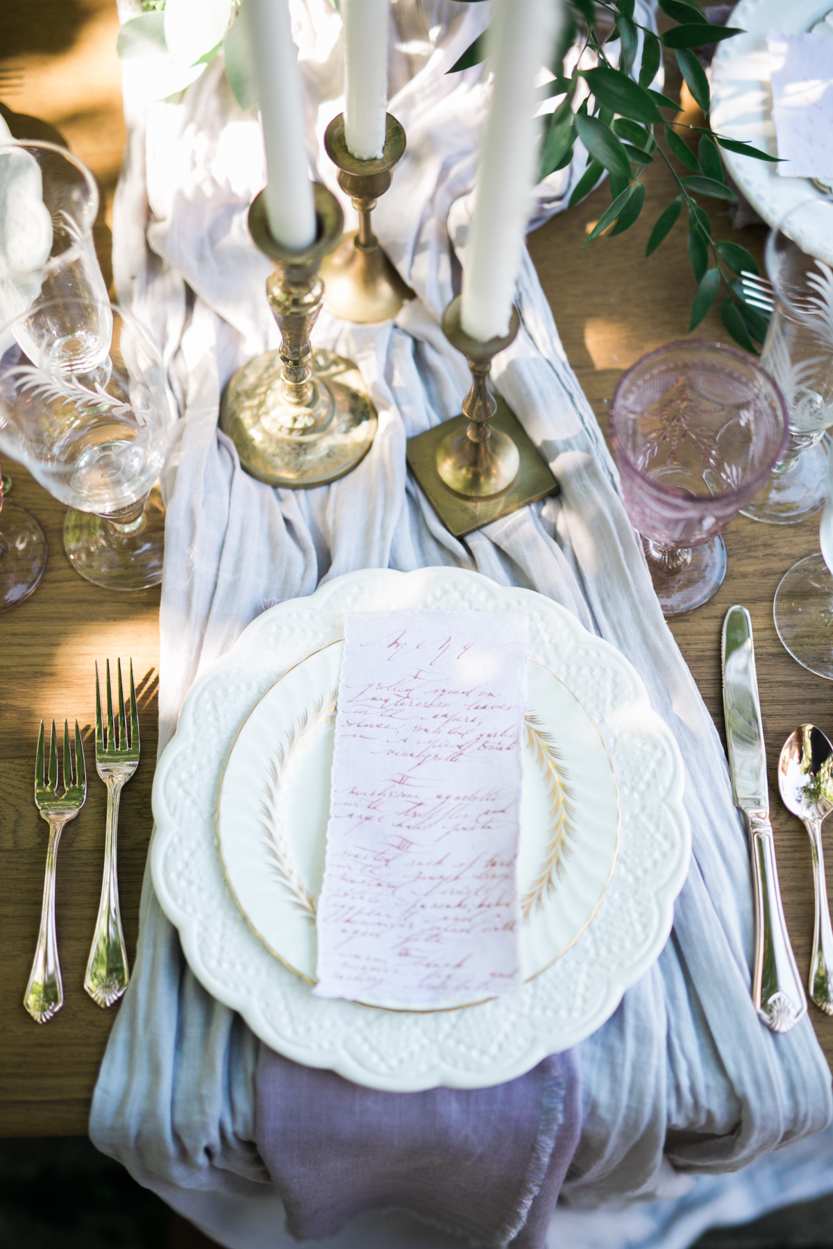 August In Bloom - Romantic reception dinner plate and menu - Fairytale Wedding (Wedluxe)