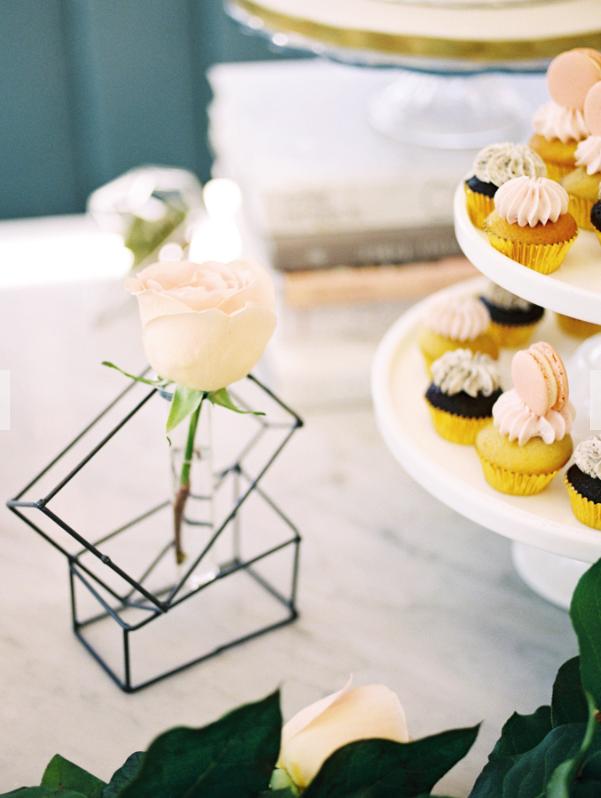 August In Bloom - Geometric bud vase - A Parisienne Inspired Brunch Wedding (Style Me Pretty)