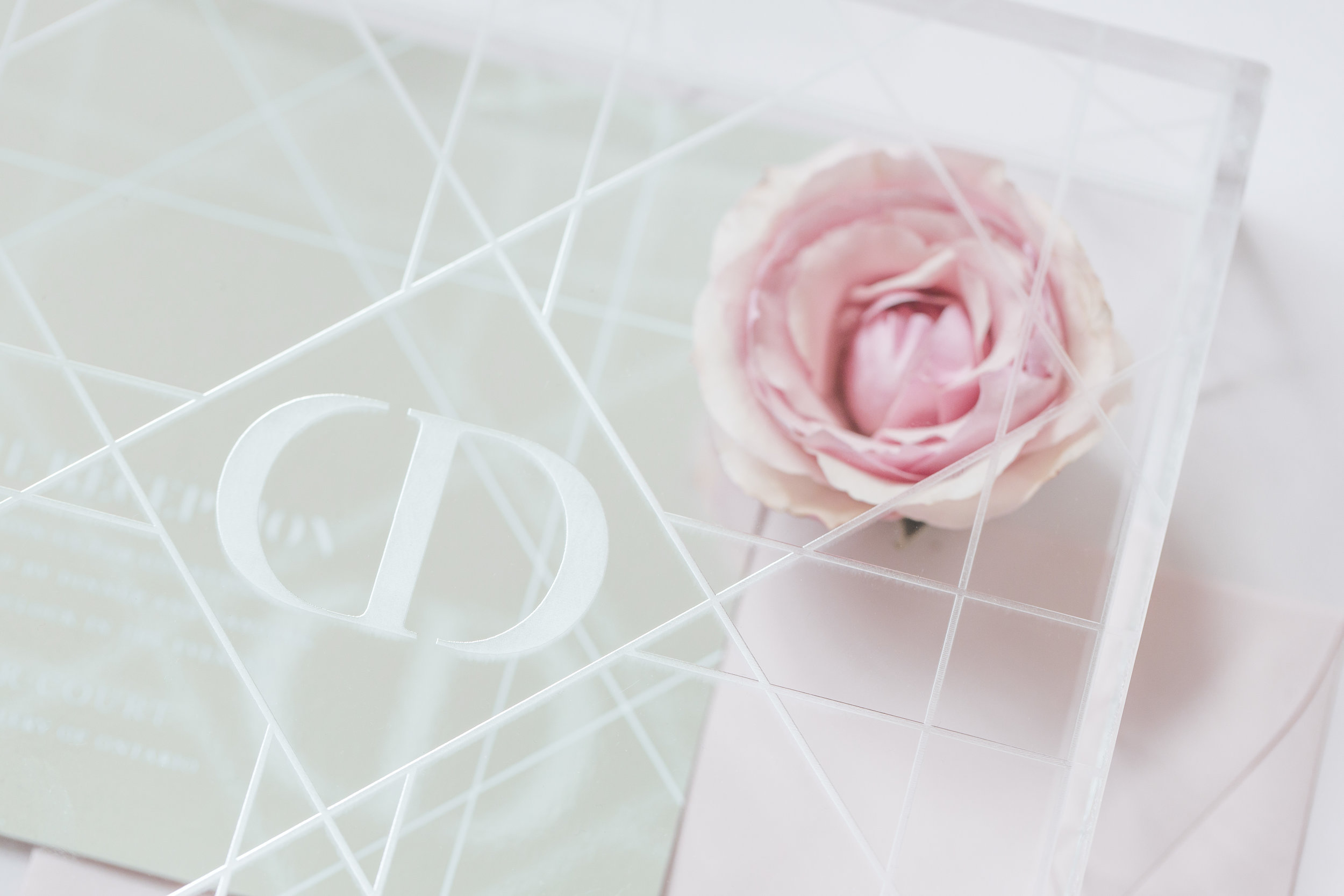 August In Bloom - Invitation suite box - Dior Darling (Wedluxe)