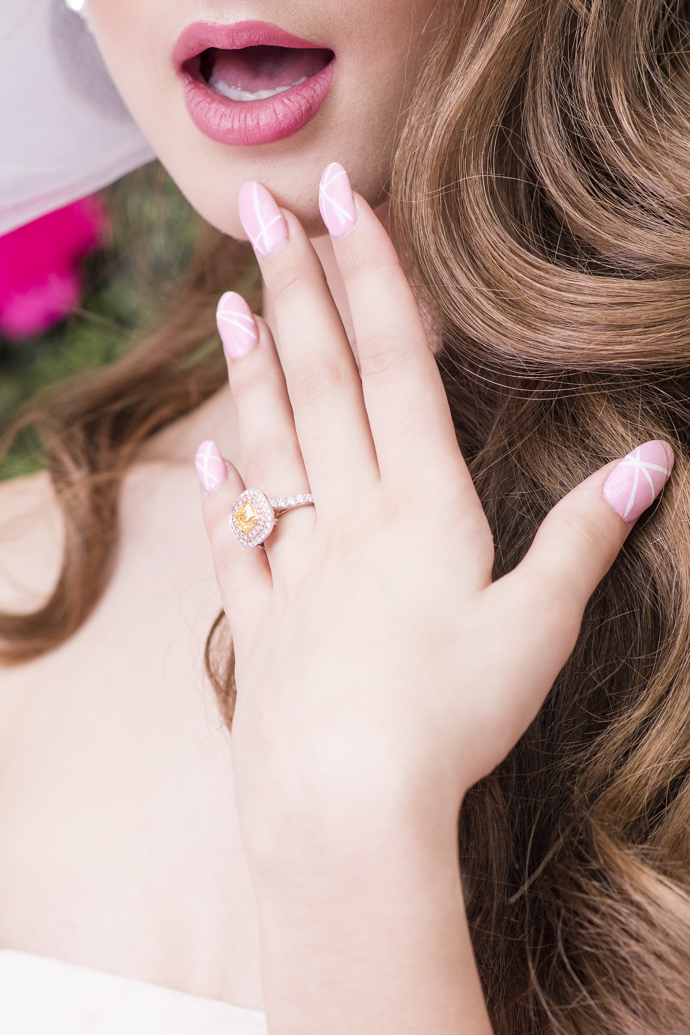 August In Bloom - Bridal ring & nail art - Dior Darling (Wedluxe)