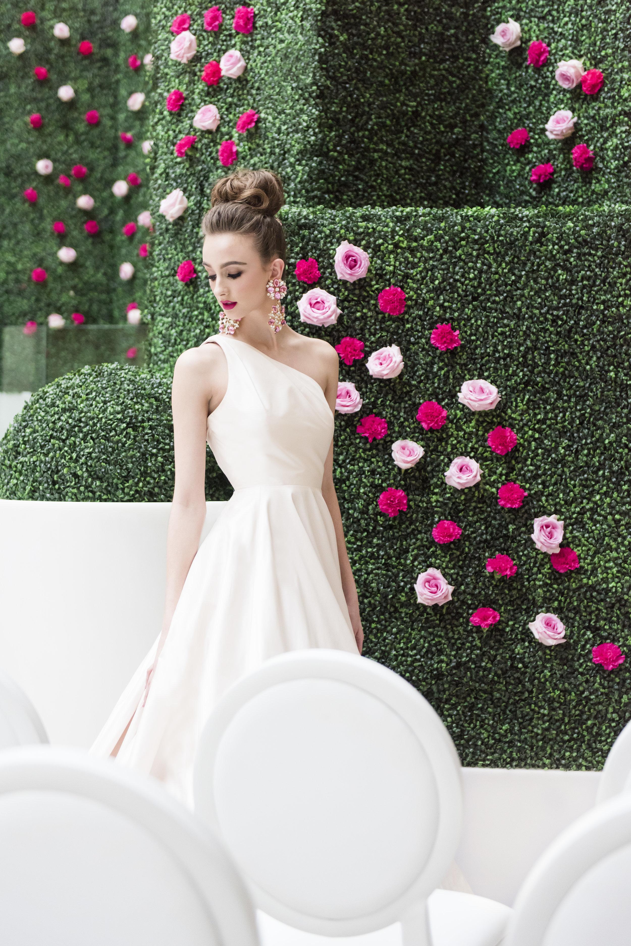 August In Bloom - Bride in garden ceremony - Dior Darling (Wedluxe)