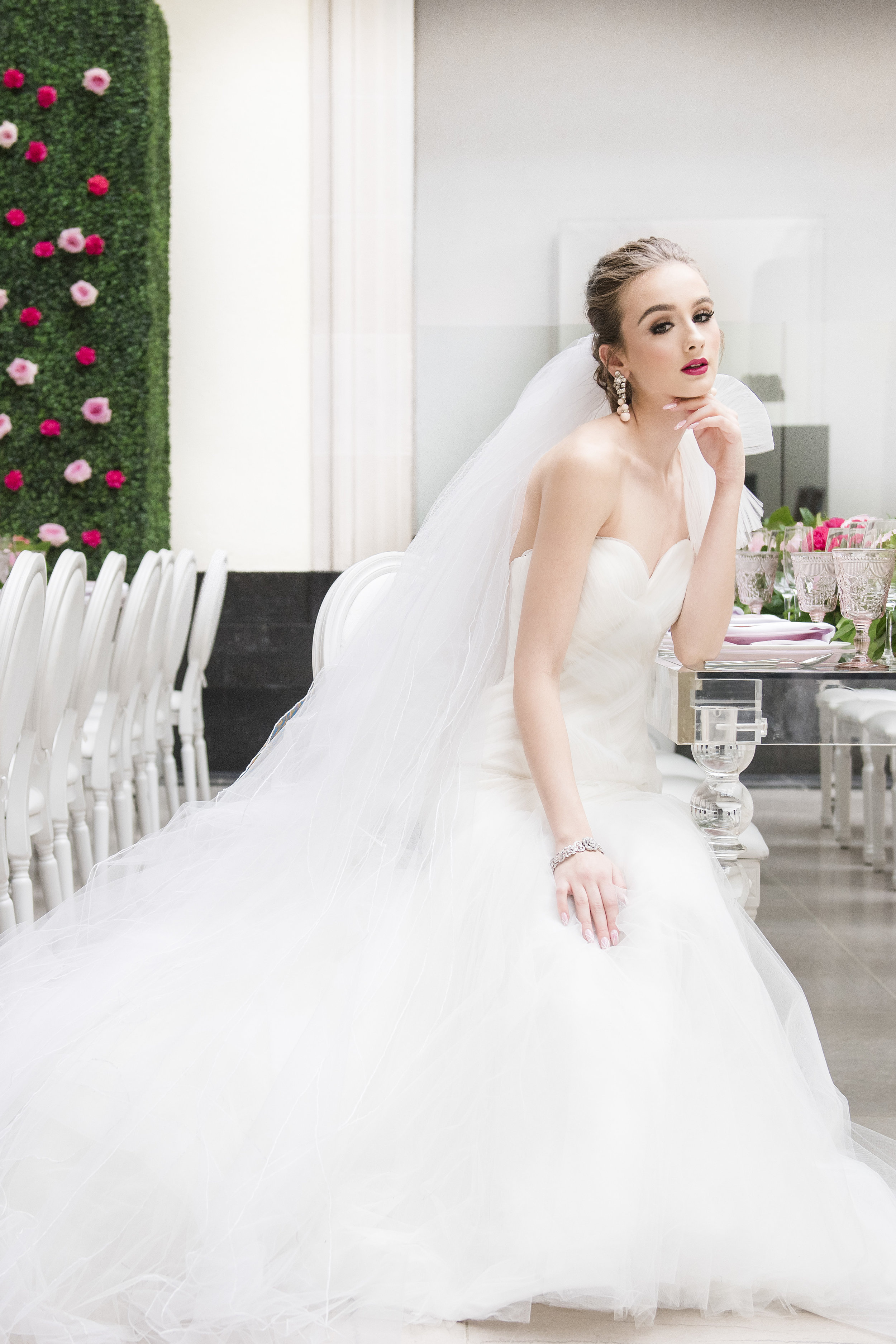 August In Bloom - Bride in garden reception - Dior Darling (Wedluxe)