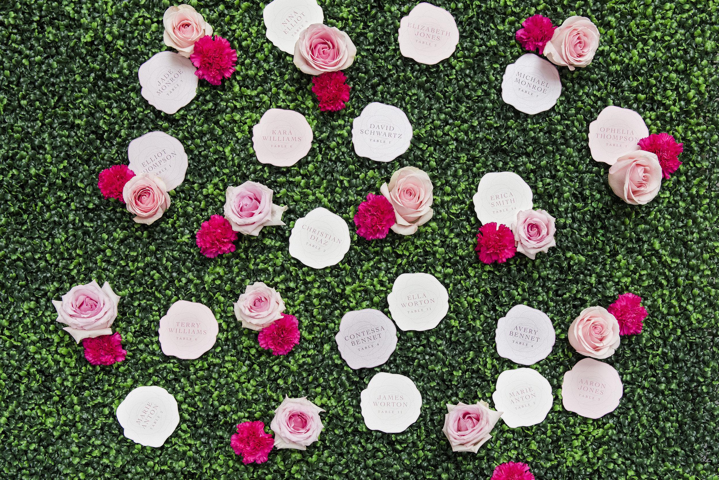 August In Bloom - Rose escort cards - Dior Darling (Wedluxe)