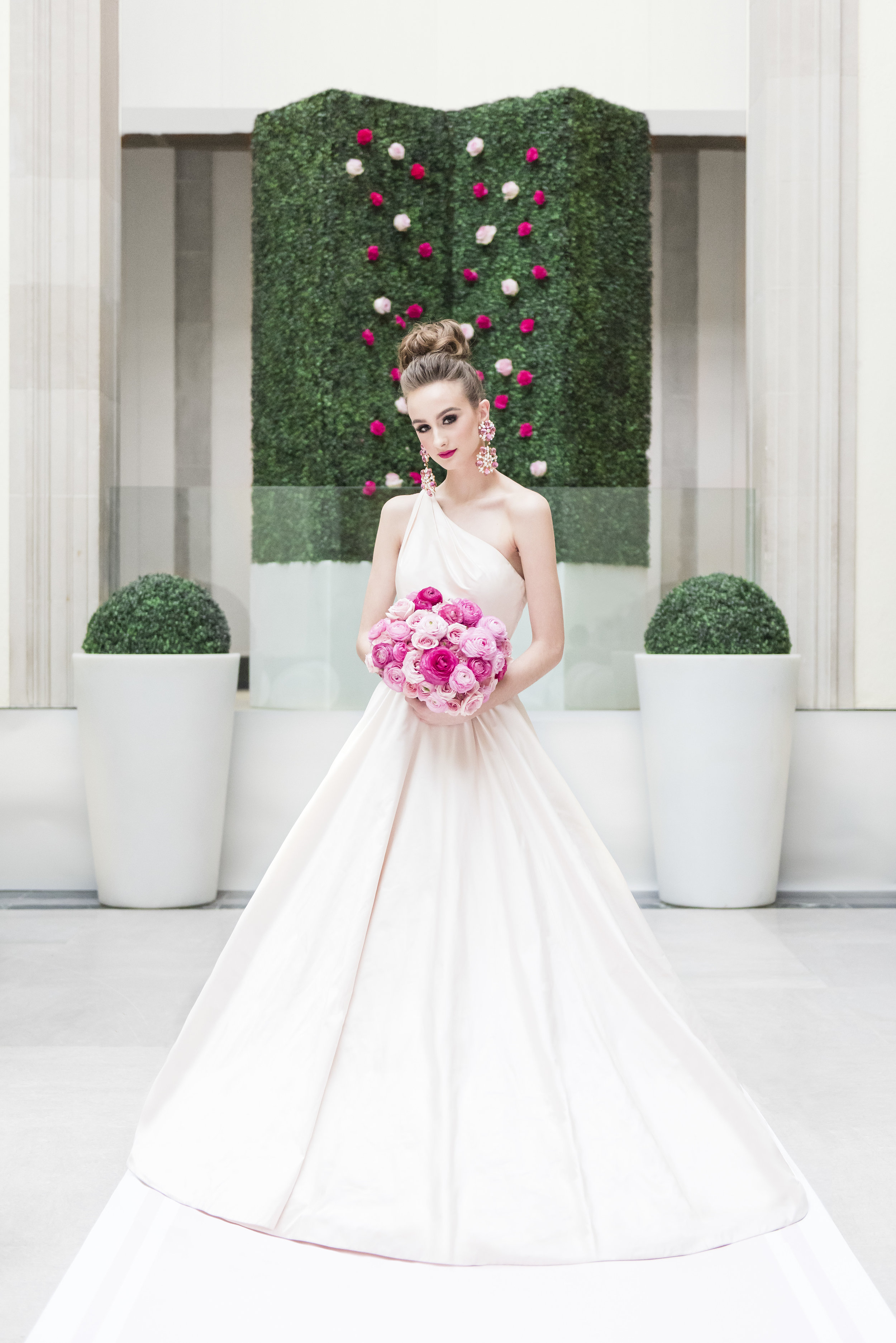 August In Bloom - Bride in Dior Gown with Pink Bouquet -Dior Darling