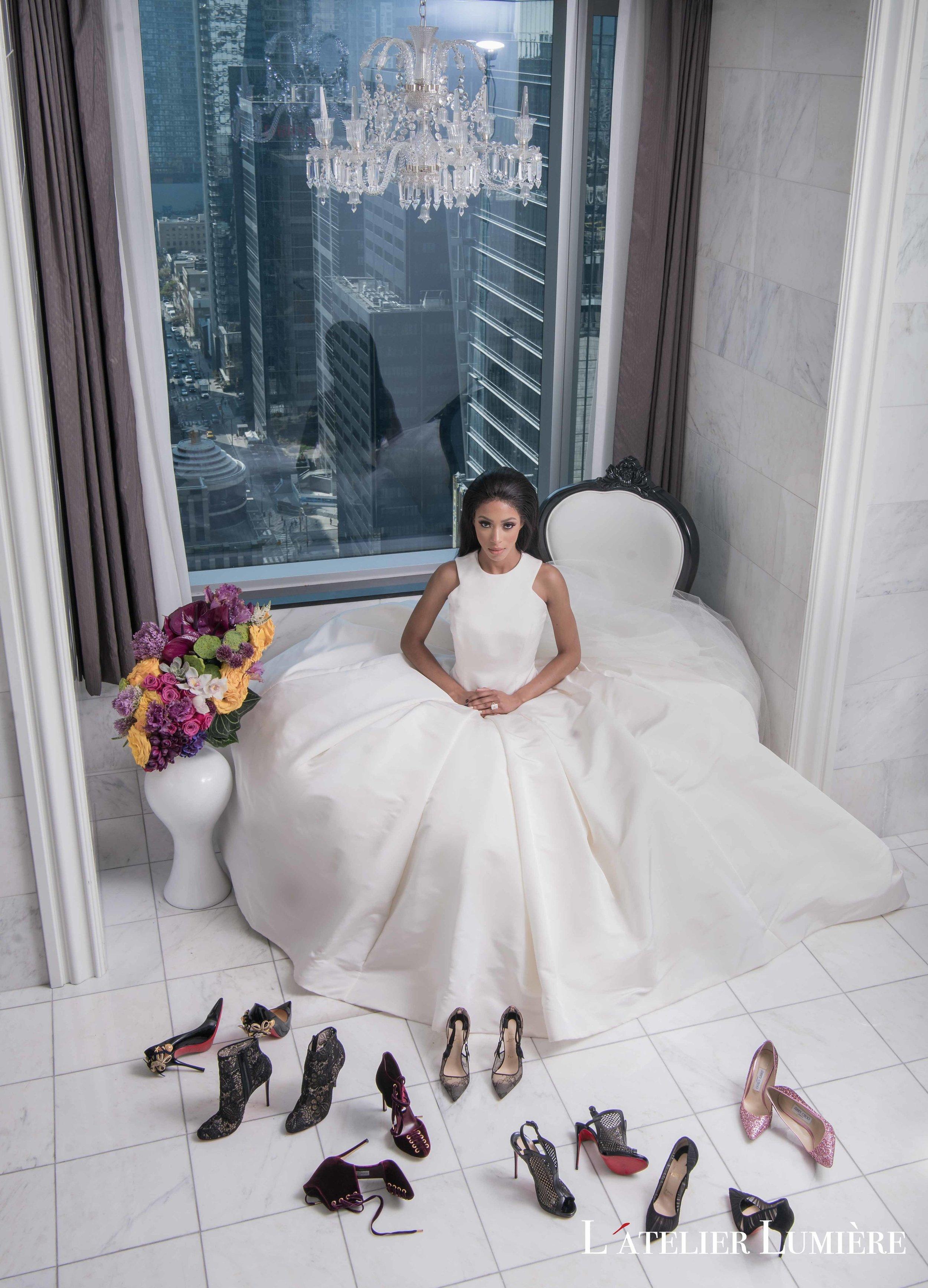 August In Bloom - Bride surrounded by heels - Riri (Grace Ormond Wedding)