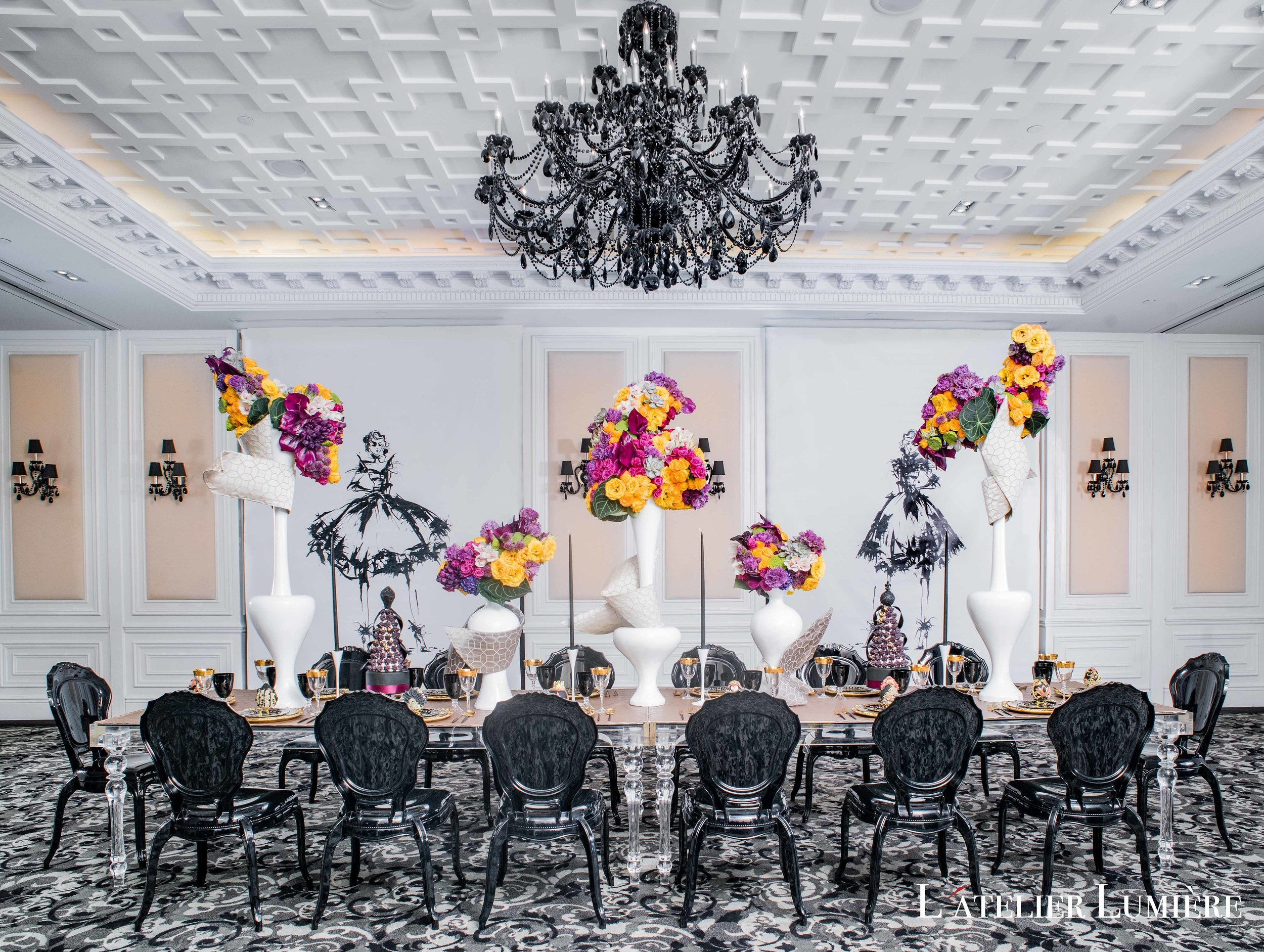 August In Bloom - Dramatic tablescape - Riri (Grace Ormond Wedding)