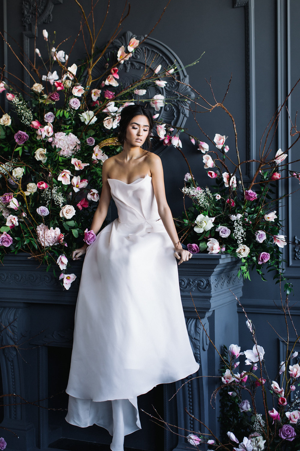 August In Bloom - Bride and lush floral garland - Magnolia Dreams (The Bridal Affair)