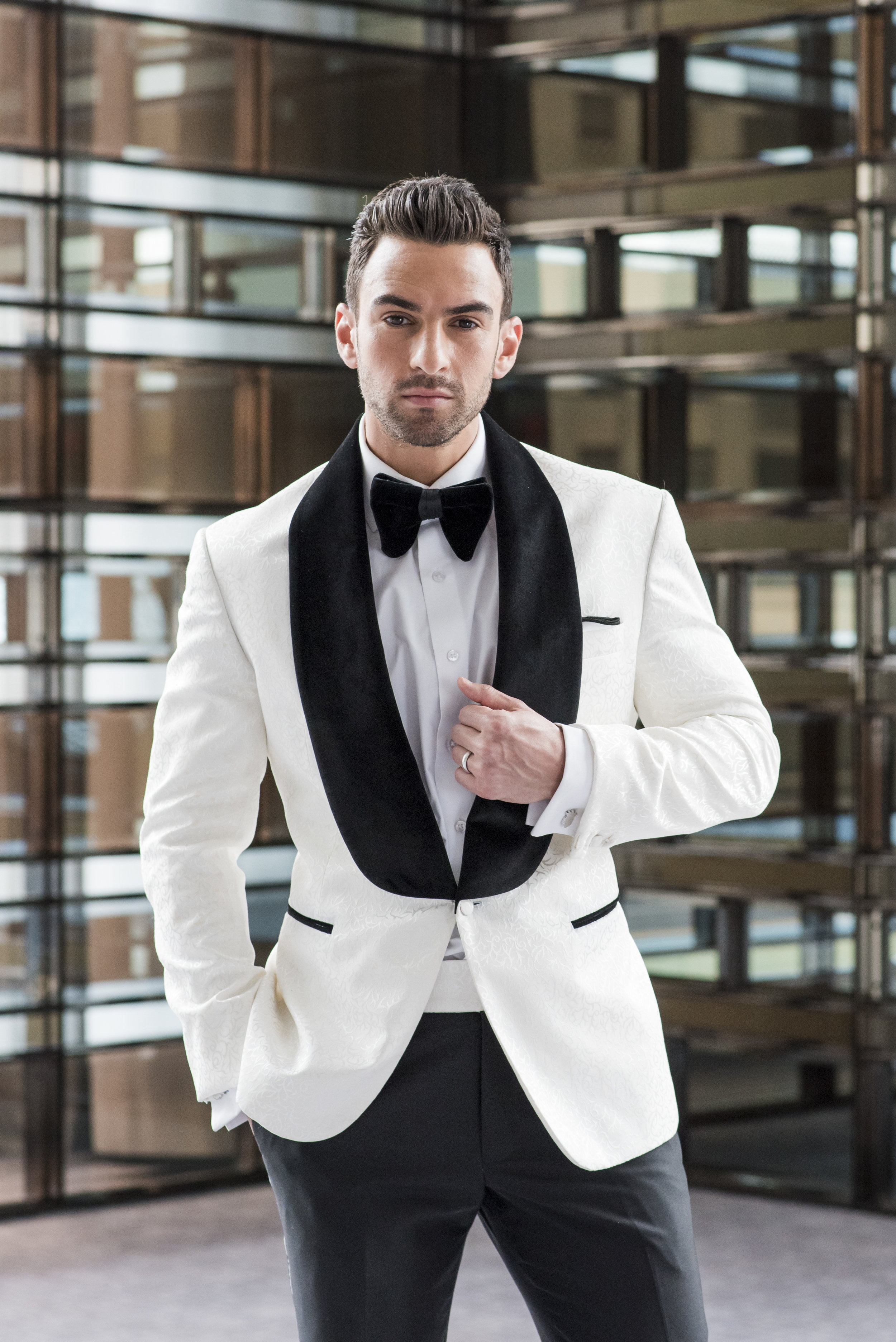 August In Bloom - Groom in White and black suit - The Suited Groom (The Bridal Affair)