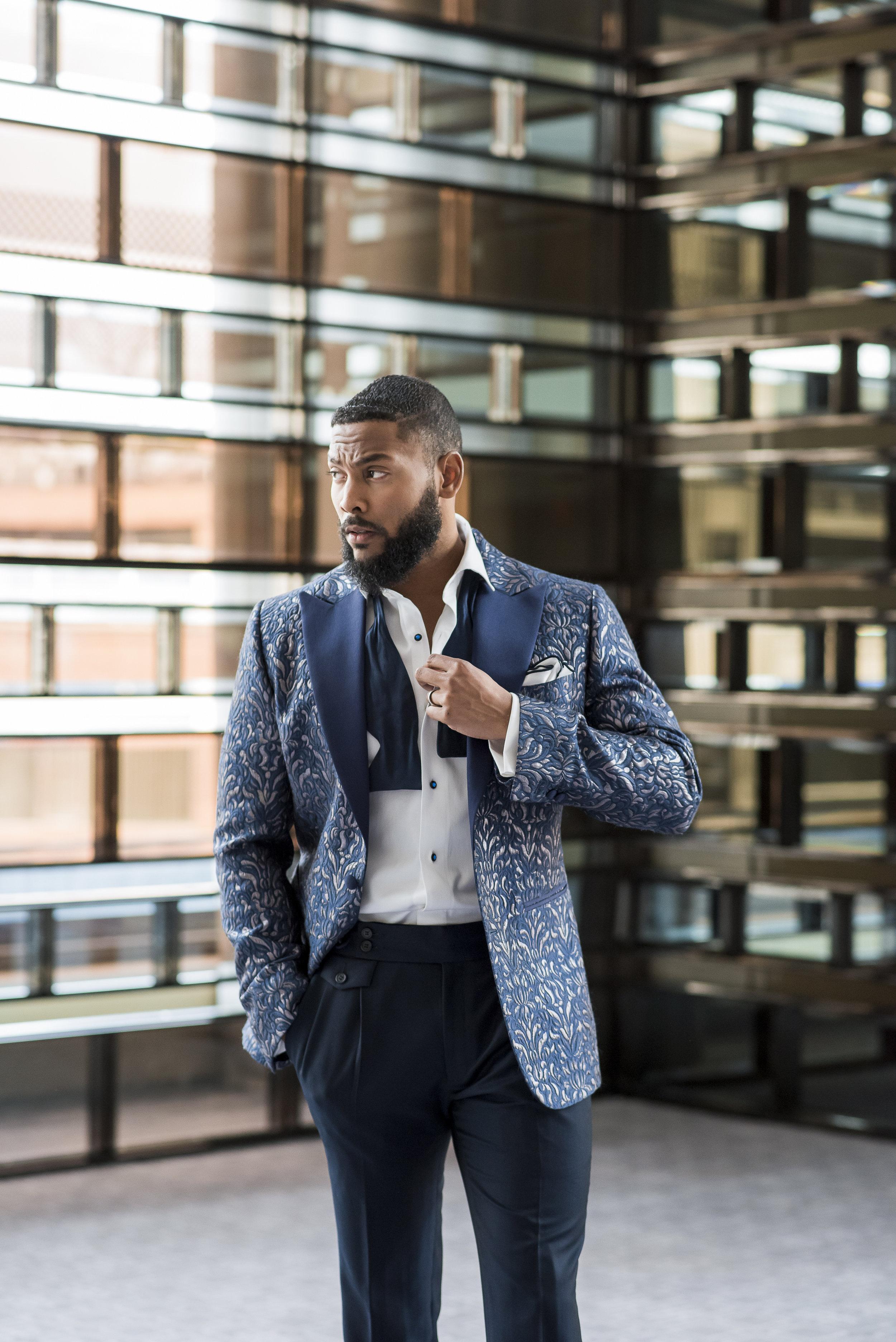 August In Bloom - Groom in patterned suit - The Suited Groom (The Bridal Affair)